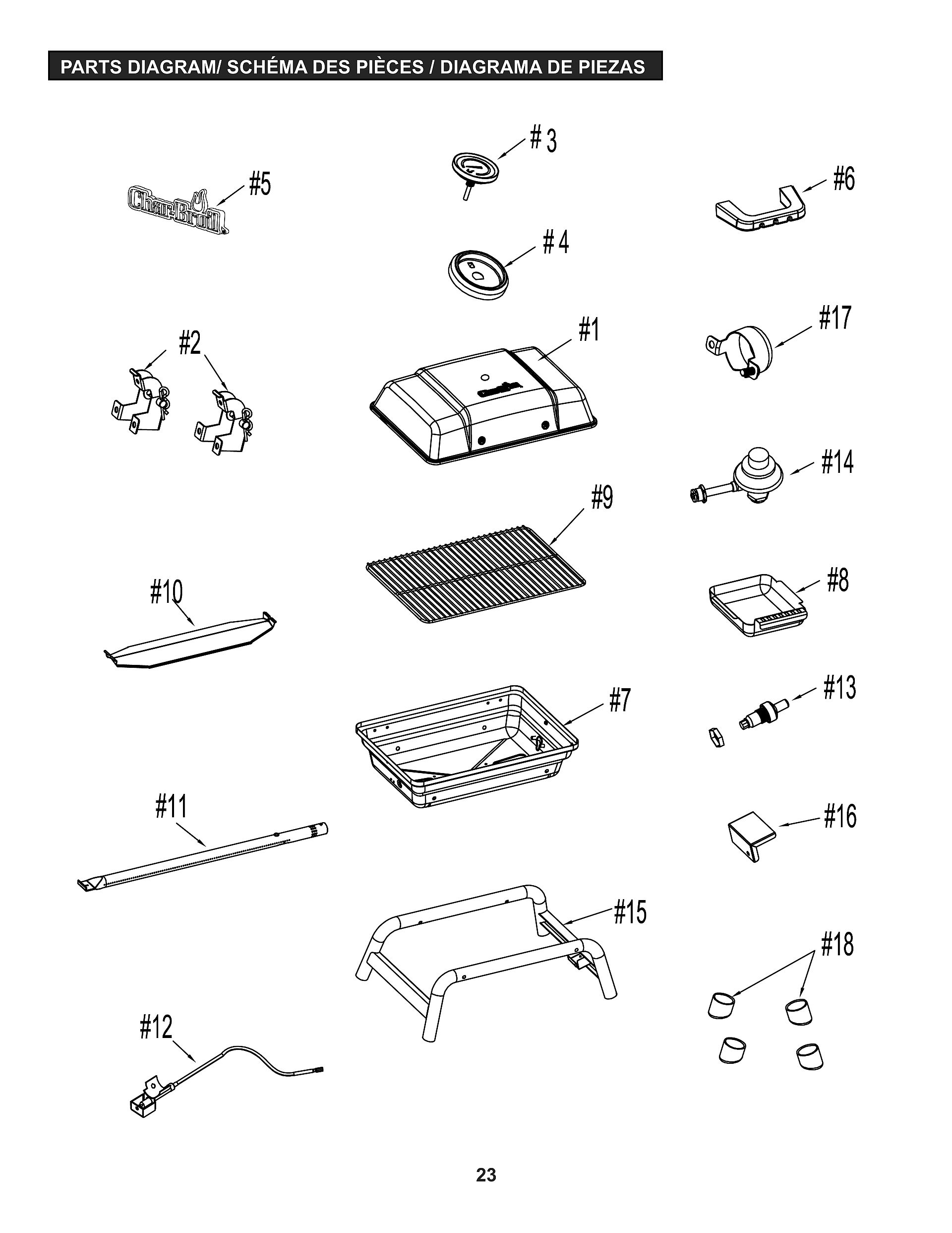 portable gas grill view schematic warranty information - Char Broil Gas Grill Parts